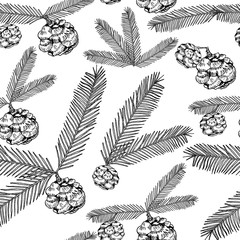 Seamless pattern tree twigs and cones painted line on a white. Tree, fir, pine cones, twigs. Vector illustration