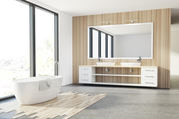 Wooden bathroom, white tub, sink, loft