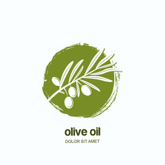 Vector logo, label or emblem with watercolor hand drawn green olive branch. Concept for agriculture, organic italian, spanish or greece national food. Olive oil and cosmetics package badges.
