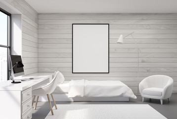 White wood bedroom, computer and poster