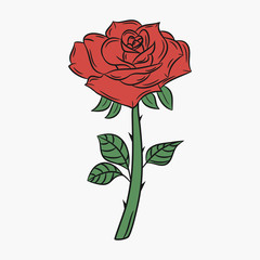 Rose, flower with a stem and thorns. Bud with red petals and green leaves. Vector illustration.