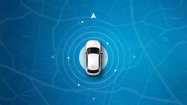 Blue map car navigation background (3D illustartion)