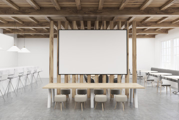 Large cafe table, poster and bar, wood