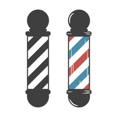 Barber Shop Pole. Vintage set. Vector illustration.