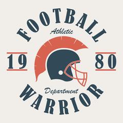 Football Warrior - t-shirt graphics with helmet. Print for sportswear, apparel, clothes. Sport logo. Vector illustration.