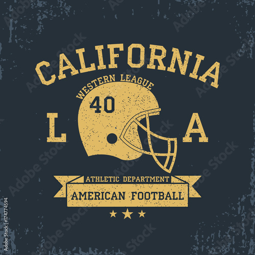50baac864 American Football, California Sport Typography. T-shirt graphics with  grunge, helmet, ribbon. Print for sportswear, apparel, clothes. Vector  illustration.