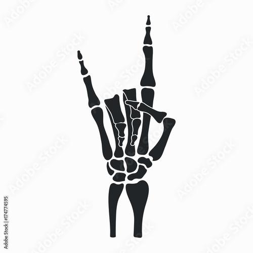 quotrock skeleton hand heavy metal sign horns rocknroll
