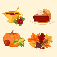 Happy Thanksgiving Day icons vector set for family celebration