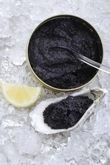 Black caviar in a tin and in an oyster shell on crushed ice