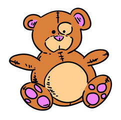 Teddy bear hand drawn cartoon. Colorful artwork with color on separate layer.