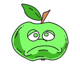 Unhappy apple cartoon hand drawn image. Original colorful artwork, comic childish style drawing.