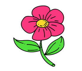 Flower cartoon hand drawn image. Original colorful artwork, comic childish style drawing.