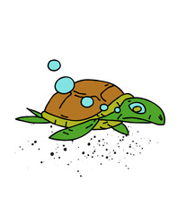 Swimming turtle cartoon hand drawn image. Original colorful artwork, comic childish style drawing.