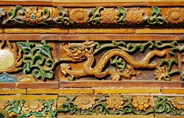 Facade detail with dragon motif in the Forbidden City, Beijing, People's Republic of China