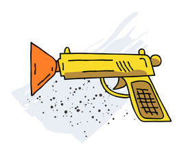 Toy gun cartoon hand drawn image. Original colorful artwork, comic childish style drawing.