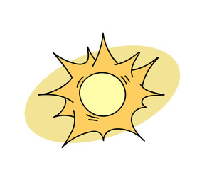 Sun cartoon hand drawn image. Original colorful artwork, comic childish style drawing.