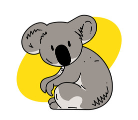 Koala cartoon hand drawn image. Original colorful artwork, comic childish style drawing.