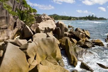 Granite rocks at the sea, island of La Digue, Seychelles, Africa, Indian Ocean, Africa