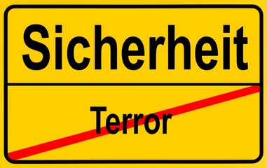 Sign city limits, symbolic image for turning away from terrorism towards safety