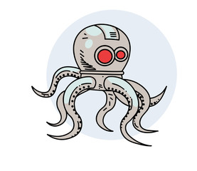 Robot octopus, hand drawn cartoon image. Freehand artistic illustration.