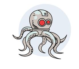 Robot octopus, hand drawn cartoon image. Freehand artistic illustration.