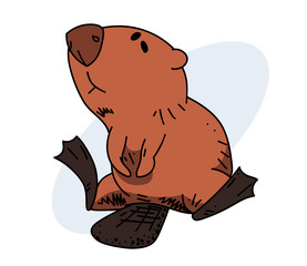 Lazy beaver, hand drawn cartoon image. Freehand artistic illustration.