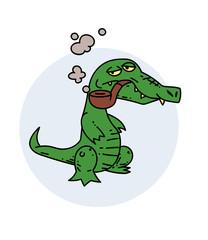Grumpy crocodile smoking pipe, hand drawn cartoon image. Freehand artistic illustration.