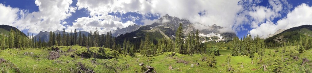 360 mountain panorama with unuasual cloud formation, mountain forest and maple trees, Kleiner Ahornboden, Karwendel, Tyrol, Austria, Europe
