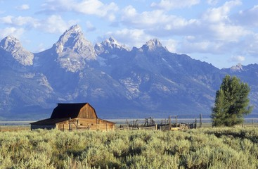 Old farm in front of the Grand Tetons mountains, Wyoming, USA, North America