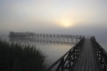 Sunrise seen from the Federsee pier, Federsee lake near Bad Buchau, nature reserve, district of Biberach, Upper Swabia, Baden-Wuerttemberg, Germany, Europe