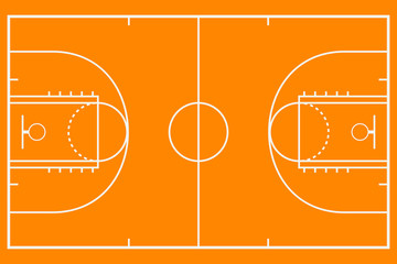 Basketball court. Mockup background field for sport strategy. Vector illustration.