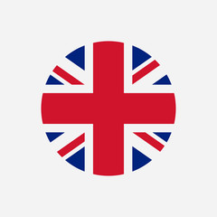 Great Britain flag. Union Jack round logo. Circle icon of United Kingdom flag. Vector illustration.