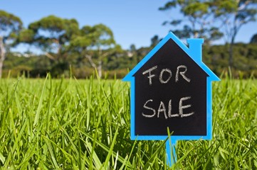 "House-shaped ""For Sale"" board in grass, symbolic image for building ground sales"