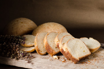 Sliced bread on rustic wooden,Homemade bakery cooking at home,Healthy food
