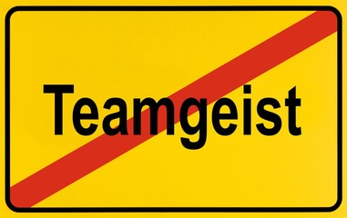Sign city limits, symbolic image for the end of team spirit