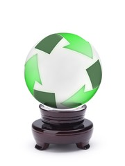 Crystal ball displaying recycling symbol