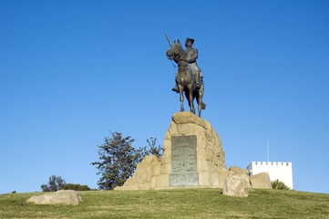 Memorial to a rider of the Schutztruppe protection force, Windhoek, Namibia, South-West Africa, Africa
