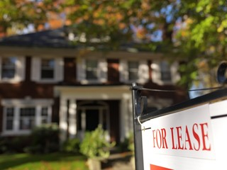 """For lease"" sign in front of a large house in fall, Toronto, Ontario, Canada, North America"
