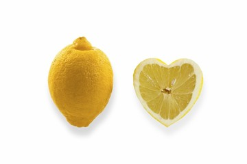 Lemons, heart-shaped lemon