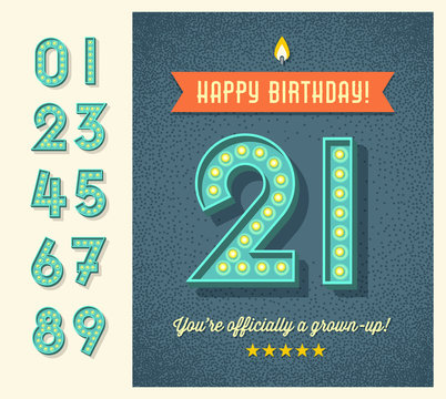 Retro birthday greeting card or web banner design  with full set of light bulb display numbers. easy to edit.