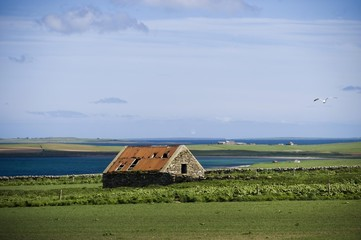 Stone cottage, barn, Orkney Islands, Scotland, United Kingdom, Europe