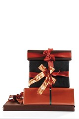 Brown and light brown gift boxes with gift ribbons