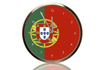 Clock with the Portuguese flag, 5 minutes to twelve, eleventh hour, symbolic image for the euro crisis
