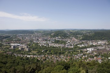 View from Spiegelslustturm tower over the historic town centre of Marburg, the Marburger Ruecken range and the Gladenbach Uplands, Marburg, Hesse, Germany, Europe
