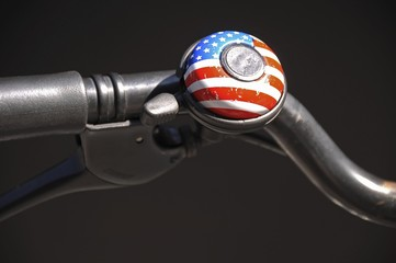 Bicycle bell, American flag motif