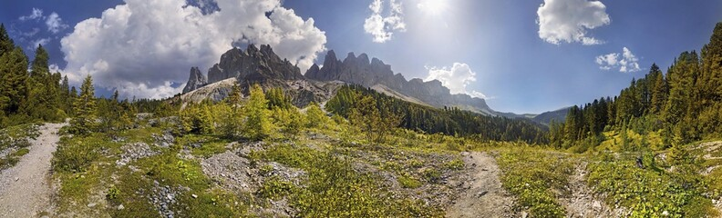 360 panoramic view at the Adolf Munkel trail in the Geisler Group, Odle Mountains, Villnoess or Funes Valley, Dolomites, South Tyrol, Italy, Europe