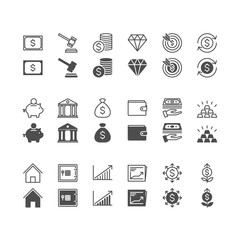 Business and investment icons, included normal and enable state.