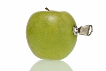Apple with lock and key