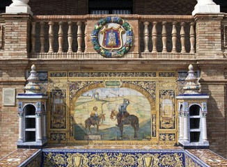 Tile mosaic of a Spanish province, Plaza de Espana, Seville, Spain, Europe