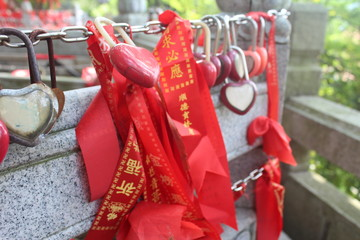 Heart Locks with Messages in a Buddhist Monastery in Guangdong China Asia